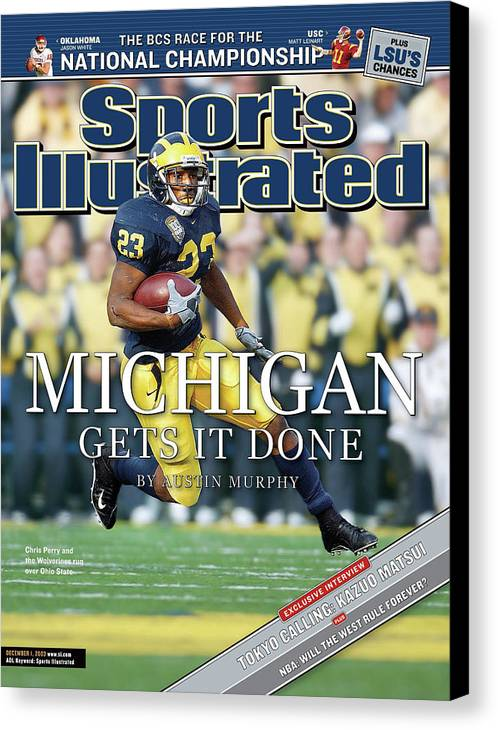 Magazine Cover Canvas Print featuring the photograph University Of Michigan Chris Perry Sports Illustrated Cover by Sports Illustrated