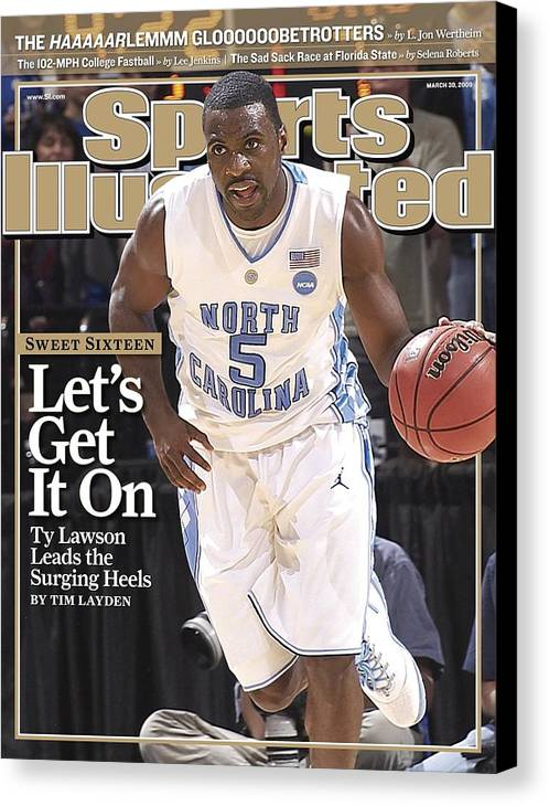 Playoffs Canvas Print featuring the photograph University Of North Carolina Ty Lawson, 2009 Ncaa South Sports Illustrated Cover by Sports Illustrated