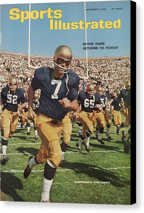 Magazine Cover Canvas Print featuring the photograph University Of Notre Dame Qb Johnny Huarte Sports Illustrated Cover by Sports Illustrated