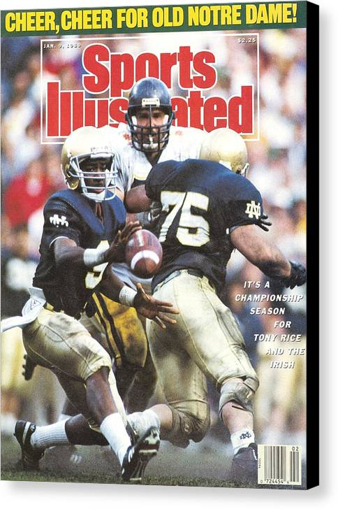 1980-1989 Canvas Print featuring the photograph University Of Notre Dame Qb Tony Rice, 1989 Fiesta Bowl Sports Illustrated Cover by Sports Illustrated
