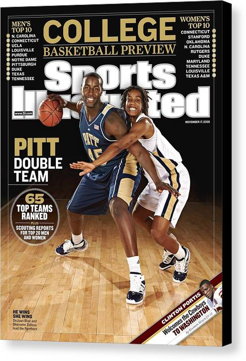 Event Canvas Print featuring the photograph University Of Pittsburgh Dejuan Blair And Shavonte Zellous Sports Illustrated Cover by Sports Illustrated