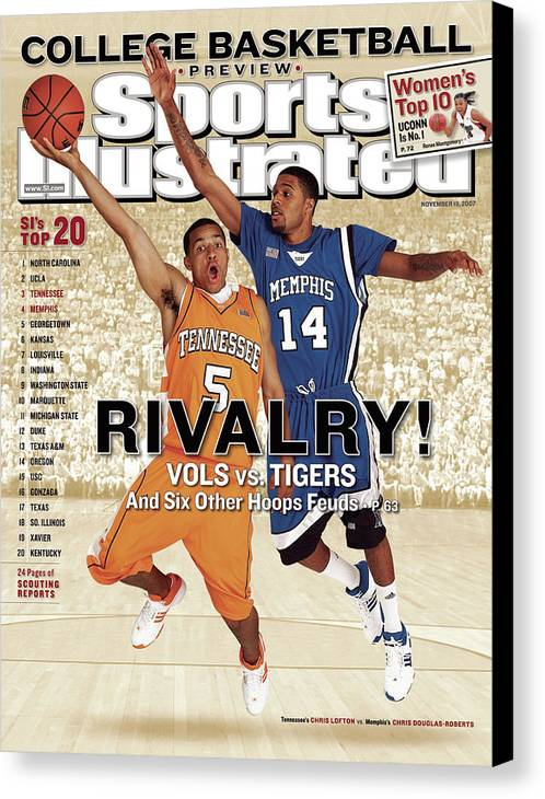 Magazine Cover Canvas Print featuring the photograph University Of Tennessee Chris Lofton And University Of Sports Illustrated Cover by Sports Illustrated