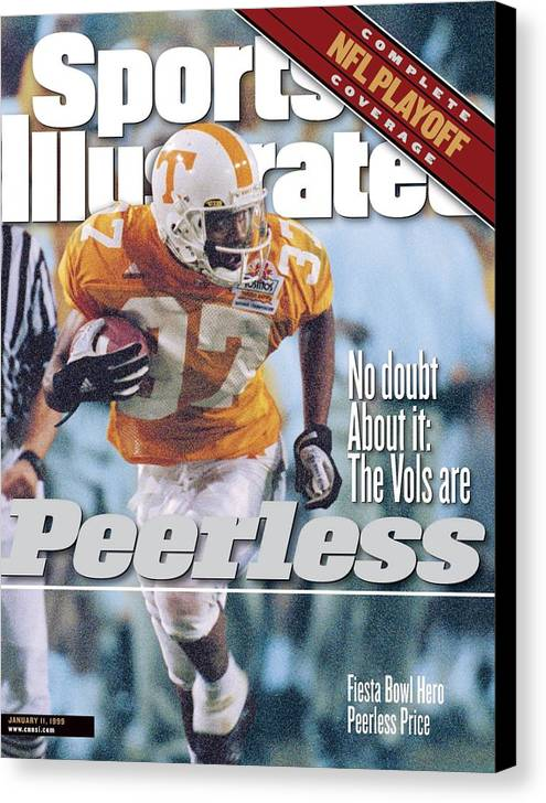 Celebration Canvas Print featuring the photograph University Of Tennessee Peerless Price, 1999 Tostitos Sports Illustrated Cover by Sports Illustrated