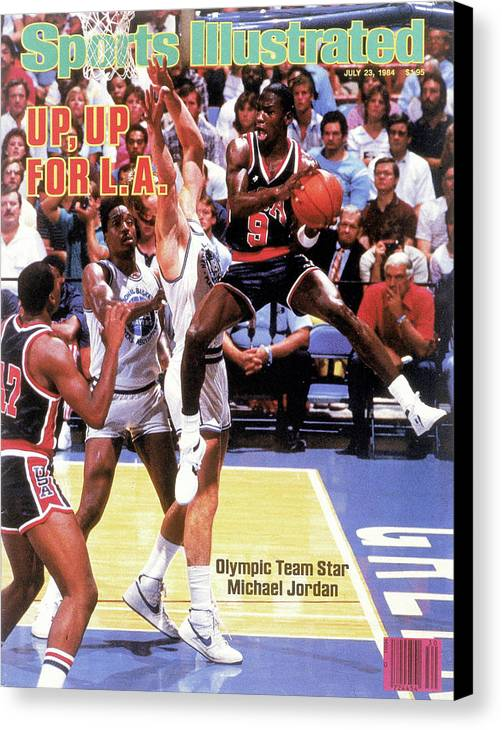 Magazine Cover Canvas Print featuring the photograph Up, Up For La 1984 Los Angeles Olympic Games Preview Issue Sports Illustrated Cover by Sports Illustrated