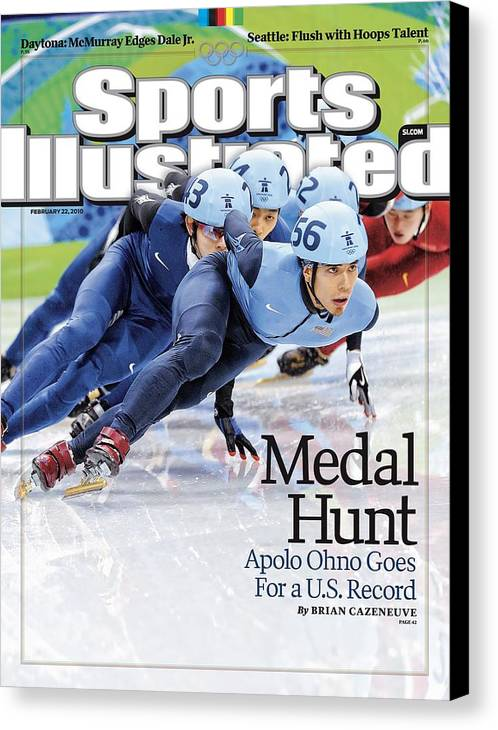 The Olympic Games Canvas Print featuring the photograph Usa Apolo Anton Ohno, 2010 Winter Olympics Sports Illustrated Cover by Sports Illustrated
