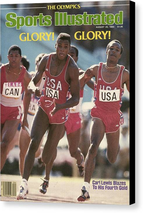 Magazine Cover Canvas Print featuring the photograph Usa Carl Lewis, 1984 Summer Olympics Sports Illustrated Cover by Sports Illustrated