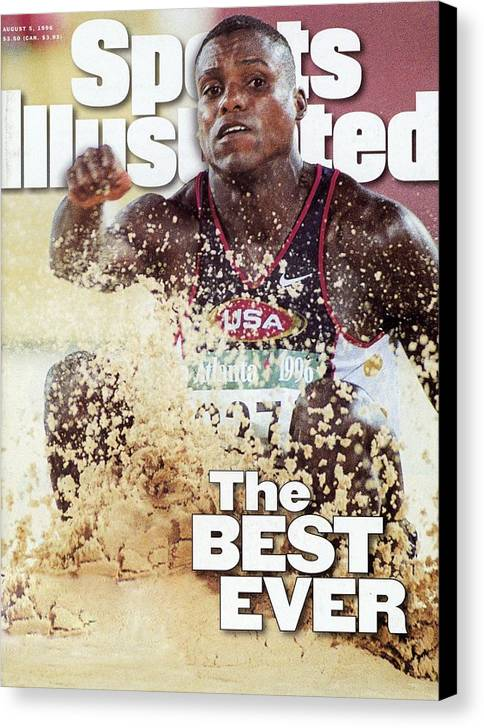 The Olympic Games Canvas Print featuring the photograph Usa Carl Lewis, 1996 Summer Olympics Sports Illustrated Cover by Sports Illustrated
