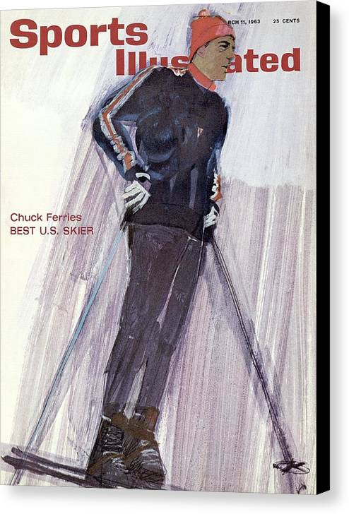 Magazine Cover Canvas Print featuring the photograph Usa Chuck Ferries, Skiing Sports Illustrated Cover by Sports Illustrated