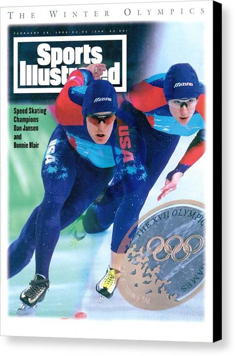 Magazine Cover Canvas Print featuring the photograph Usa Dan Jansen And Bonnie Blair, 1994 Winter Olympics Sports Illustrated Cover by Sports Illustrated