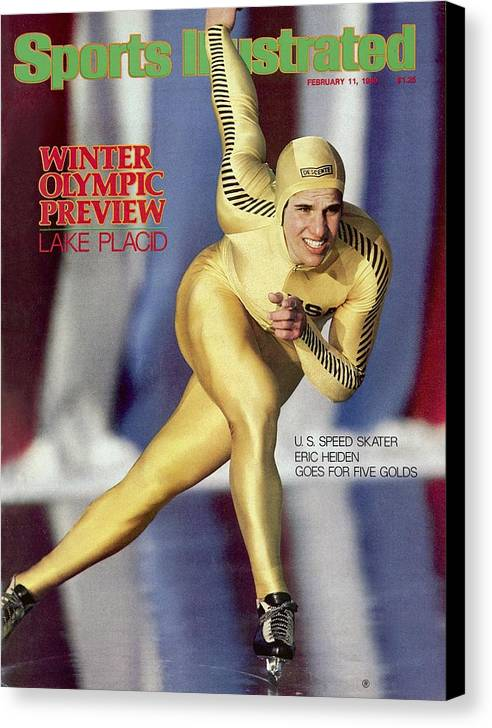 The Olympic Games Canvas Print featuring the photograph Usa Eric Heiden, 1980 Lake Placid Olympic Games Preview Sports Illustrated Cover by Sports Illustrated