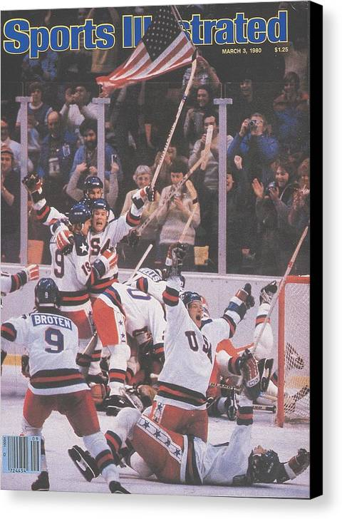 Magazine Cover Canvas Print featuring the photograph Usa Hockey, 1980 Winter Olympics Sports Illustrated Cover by Sports Illustrated