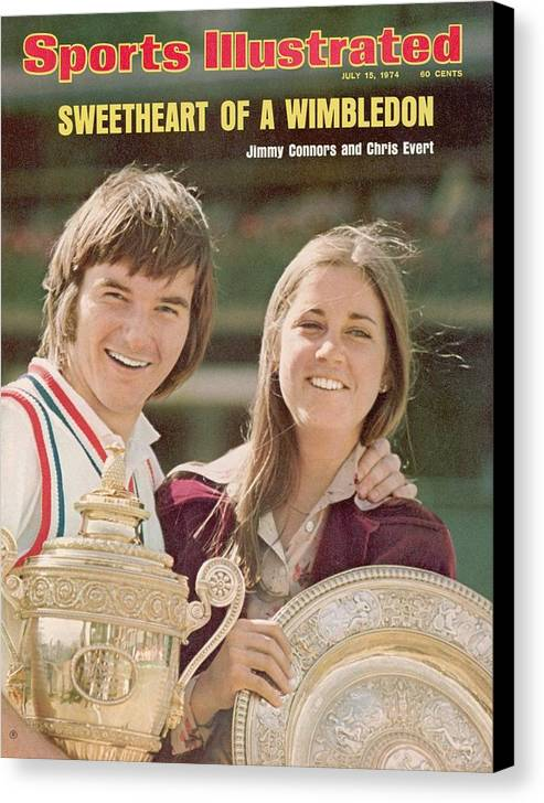 Magazine Cover Canvas Print featuring the photograph Usa Jimmy Connors And Usa Chris Evert, 1974 Wimbledon Sports Illustrated Cover by Sports Illustrated