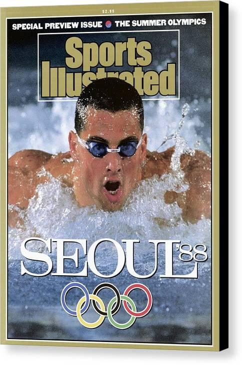 Magazine Cover Canvas Print featuring the photograph Usa Matt Biondi, 1988 Seoul Olympic Games Preview Sports Illustrated Cover by Sports Illustrated