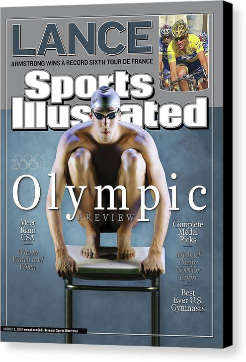 Magazine Cover Canvas Print featuring the photograph Usa Michael Phelps, 2004 Athens Olympic Games Preview Issue Sports Illustrated Cover by Sports Illustrated