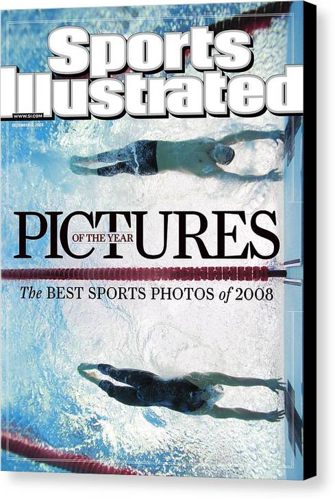 Underwater Canvas Print featuring the photograph Usa Michael Phelps And Serbia Milorad Cavic, 2008 Summer Sports Illustrated Cover by Sports Illustrated