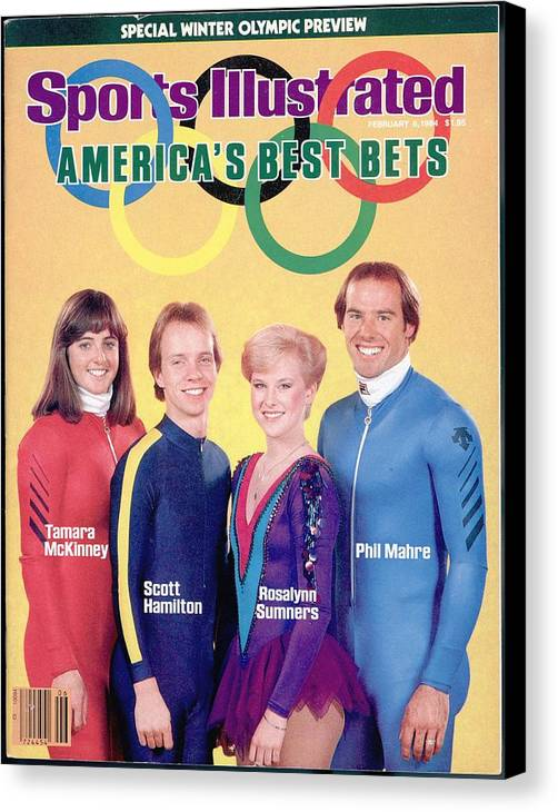 Skiing Canvas Print featuring the photograph Usa Tamara Mckinney, Scott Hamilton, Rosalynn Sumners, And Sports Illustrated Cover by Sports Illustrated