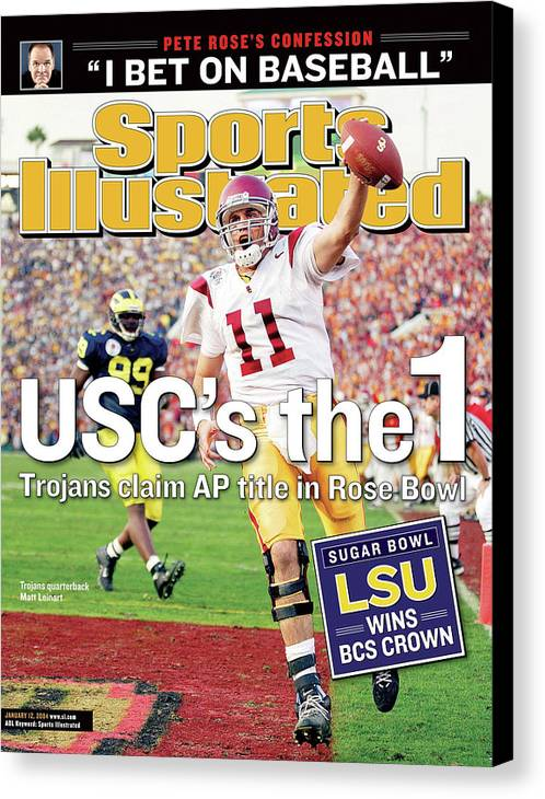 Magazine Cover Canvas Print featuring the photograph Uscs The 1 Trojans Claim Ap Title In Rose Bowl Sports Illustrated Cover by Sports Illustrated