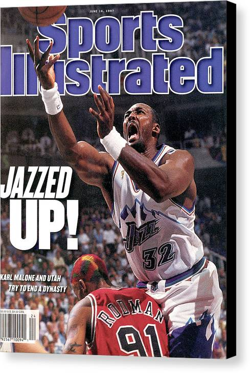 Chicago Bulls Canvas Print featuring the photograph Utah Jazz Karl Malone, 1997 Nba Finals Sports Illustrated Cover by Sports Illustrated