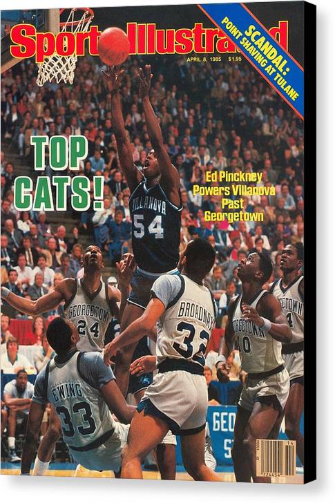 1980-1989 Canvas Print featuring the photograph Villanova University Ed Pinckney, 1985 Ncaa National Sports Illustrated Cover by Sports Illustrated