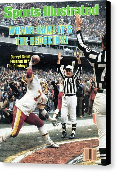 Magazine Cover Canvas Print featuring the photograph Washington Redskins Darryl Grant, 1983 Nfc Championship Sports Illustrated Cover by Sports Illustrated