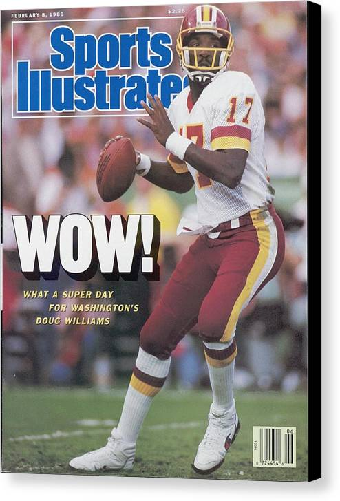 1980-1989 Canvas Print featuring the photograph Washington Redskins Doug Williams, Super Bowl Xxii Sports Illustrated Cover by Sports Illustrated