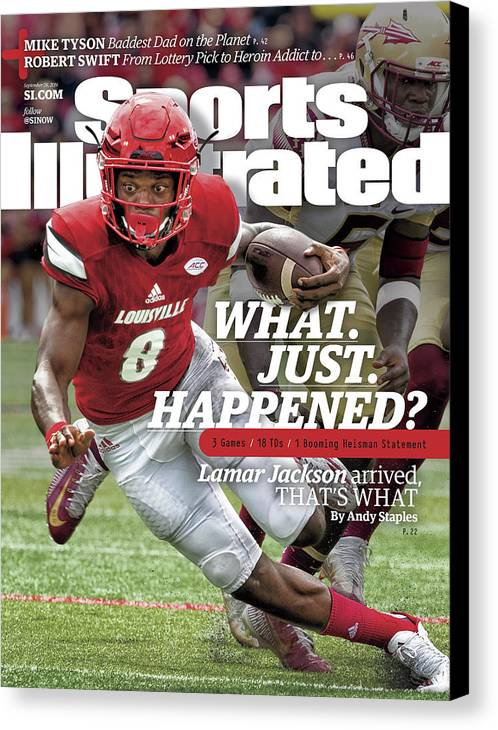 Sports Illustrated Canvas Print featuring the photograph What. Just. Happened Lamar Jackson Arrived, Thats What Sports Illustrated Cover by Sports Illustrated