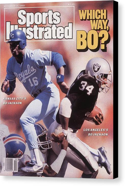 Magazine Cover Canvas Print featuring the photograph Which Way Bo? Bo Jackson Of Kansas City Royals And Los Angeles Raiders Sports Illustrated Cover by Sports Illustrated