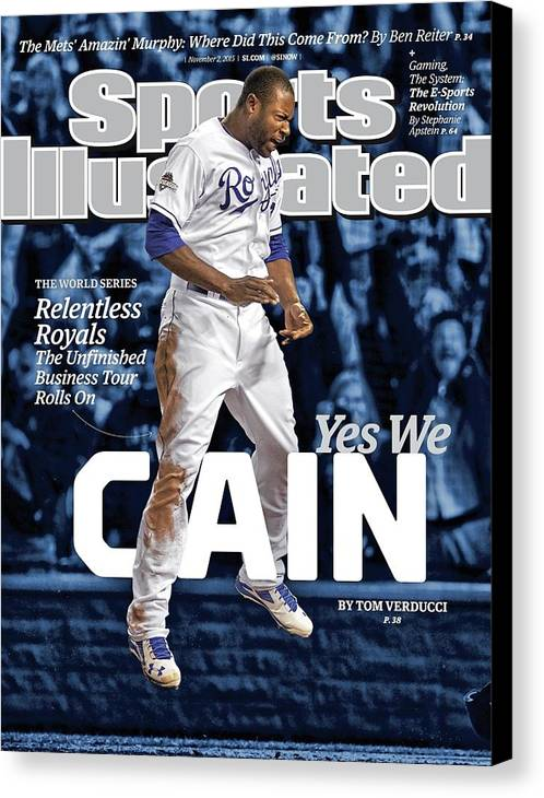 Magazine Cover Canvas Print featuring the photograph Yes We Cain 2015 World Series Preview Issue Sports Illustrated Cover by Sports Illustrated