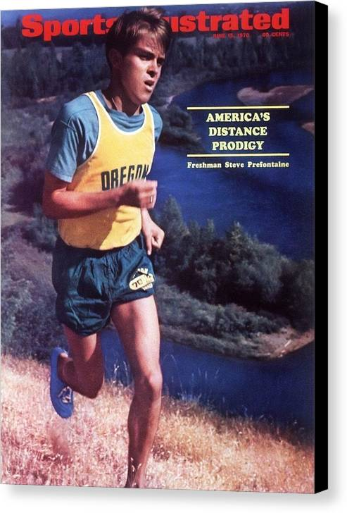 Magazine Cover Canvas Print featuring the photograph Oregon Steve Prefontaine Sports Illustrated Cover by Sports Illustrated
