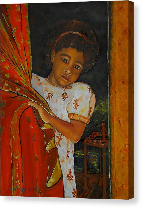 Oil On Canvas Canvas Print featuring the painting Indian Girl by Ken Caffey