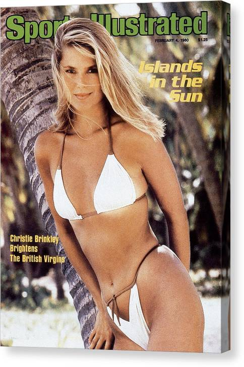 Three Quarter Length Canvas Print featuring the photograph Christie Brinkley Swimsuit 1980 Sports Illustrated Cover by Sports Illustrated
