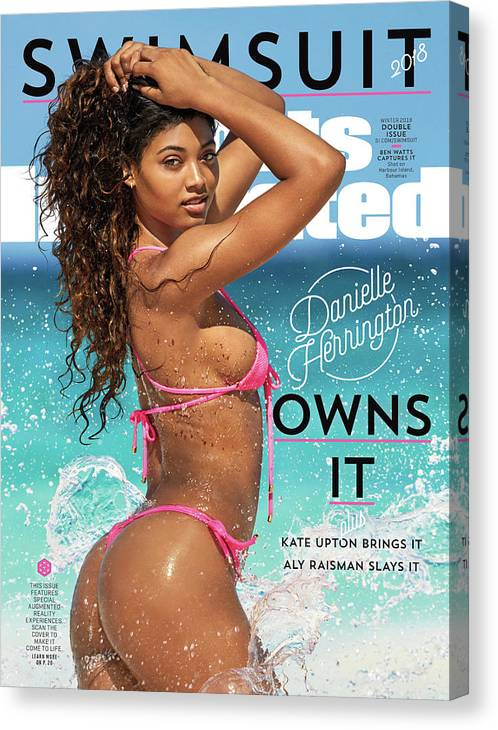 Three Quarter Length Canvas Print featuring the photograph Danielle Herrington Swimsuit 2018 Sports Illustrated Cover by Sports Illustrated