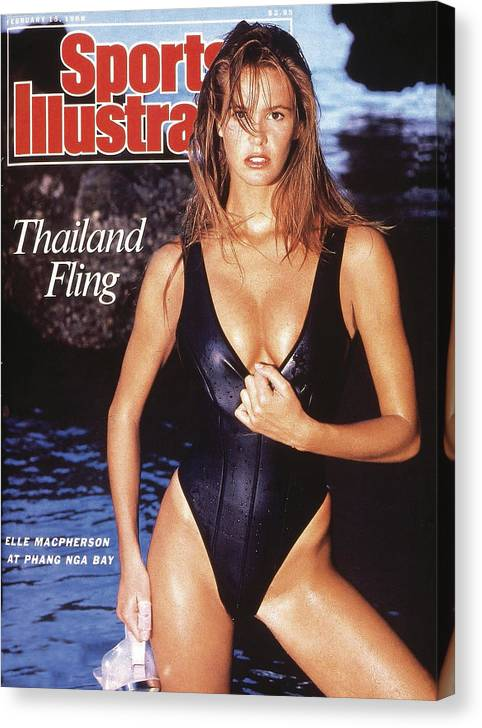 1980-1989 Canvas Print featuring the photograph Elle Macpherson Swimsuit 1988 Sports Illustrated Cover by Sports Illustrated