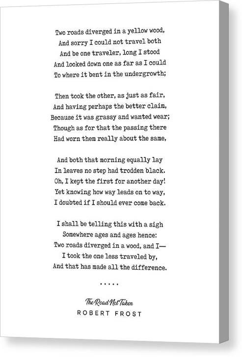 The Road Not Taken - Robert Frost Poem - Minimal, Sophisticated, Modern, Classy Typewriter Print by Studio Grafiikka