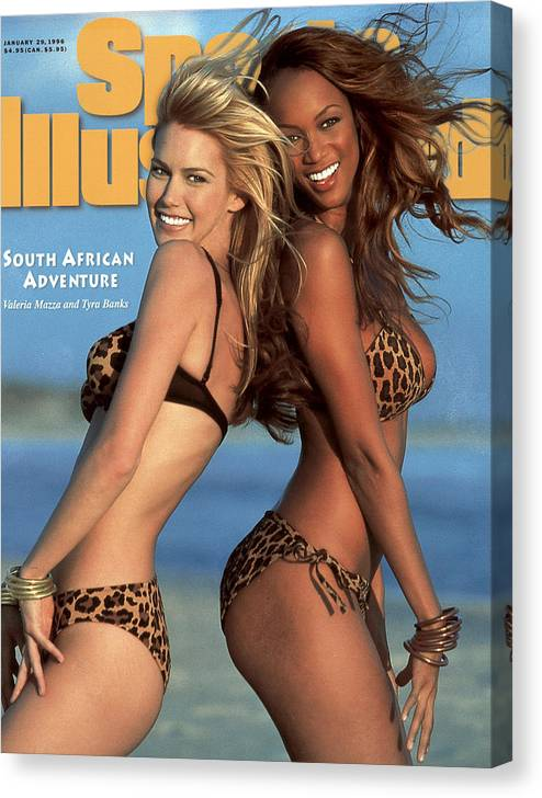 Social Issues Canvas Print featuring the photograph Tyra Banks And Valeria Mazza Swimsuit 1996 Sports Illustrated Cover by Sports Illustrated