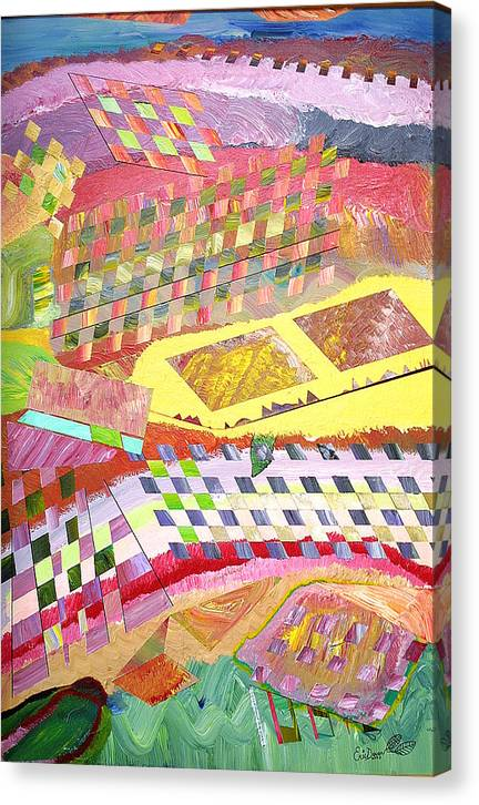 Crops Canvas Print featuring the painting A View From Above by Eric Devan