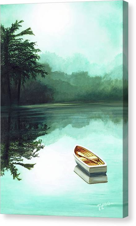 Reflections In Water Canvas Print featuring the painting Print - IN THE MORNING MIST by Mary Grden