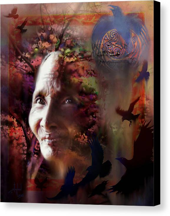 Spiritual Canvas Print featuring the digital art Grandmother Crow by Stephen Lucas