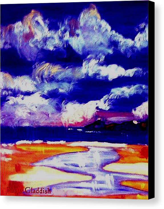 Seascape Canvas Print featuring the painting Nimbus Clouds Over Mumbles by Rusty Gladdish