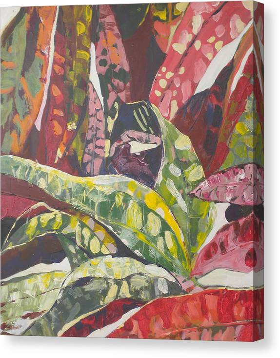 Red Canvas Print featuring the painting Coloured Leaves by Jan Farara