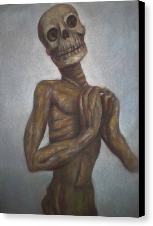 Skeleton - Memento Mori - Cadaver- Pastel On Paper - Corpse Study- Allegorical Drawing- Dia De Muertos- Calavera Art - Dead - Day Of The Dead - Gothic Art Canvas Print featuring the drawing Praying Cadaver by Paez ANTONIO