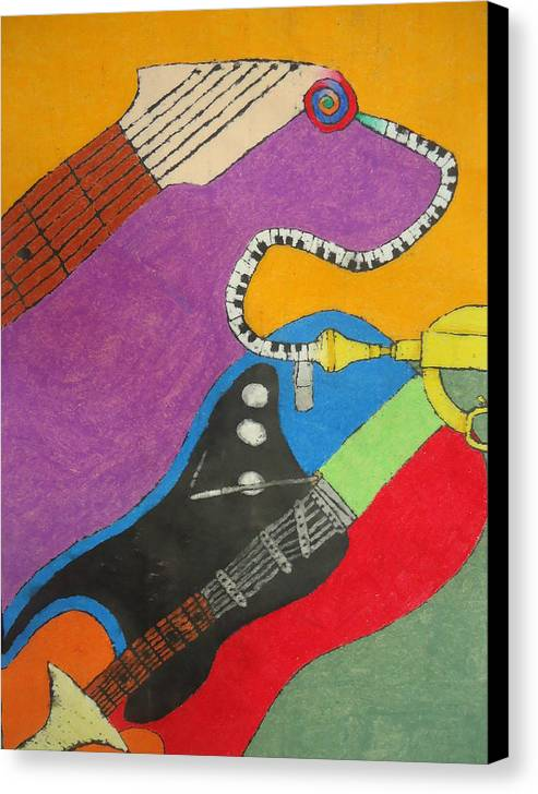 Musical Canvas Print featuring the pastel Jazz Trio by Derril Foster