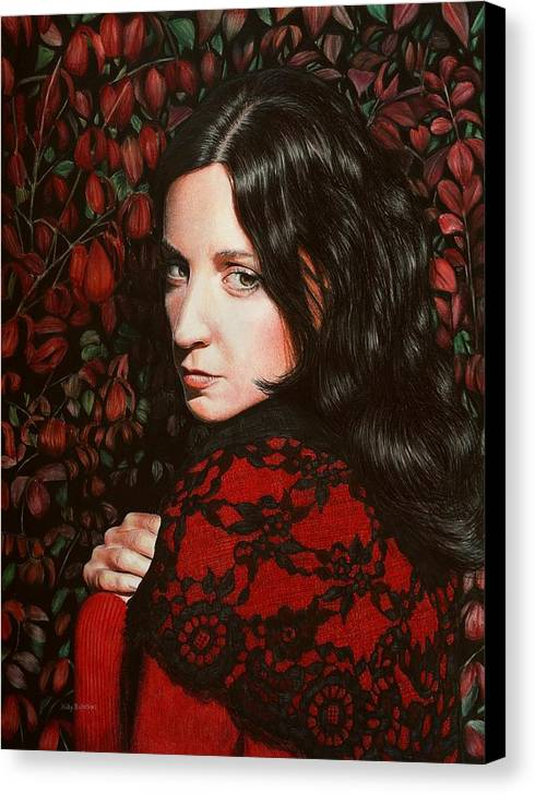 Canvas Print featuring the drawing Autumn Lace II by Holly Bedrosian