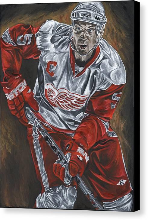 Nicklas Lidstrom Detroit Redwings Hockey Captain David Courson Art Sports Canvas Print featuring the painting Nicklas Lidstrom by David Courson