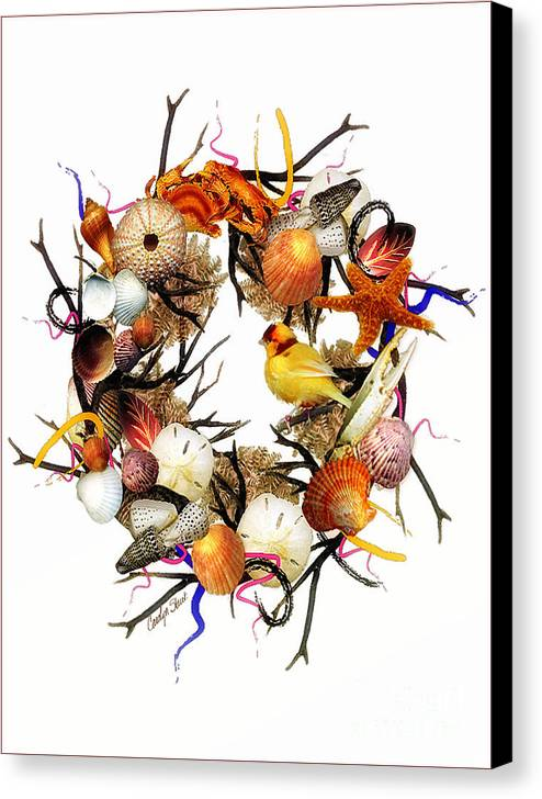 Shells Canvas Print featuring the painting Welcome To My Nest by Carolyn Staut