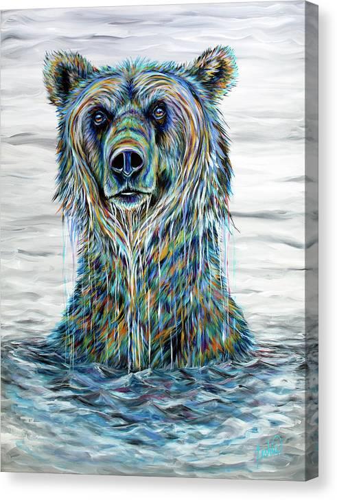 Bear Canvas Print featuring the painting Katmai by Teshia Art