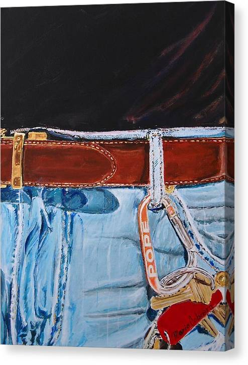 Jeans Canvas Print featuring the painting Me And My Jeans by Mario Cabrera