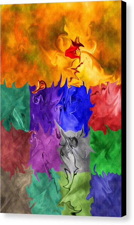 Abstract Canvas Print featuring the digital art Fish Are Jumping by Tom Romeo