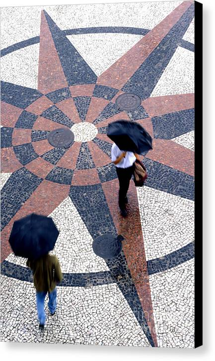 North Canvas Print featuring the photograph Going North Going South - Umbrellas Series 1 by Carlos Alvim