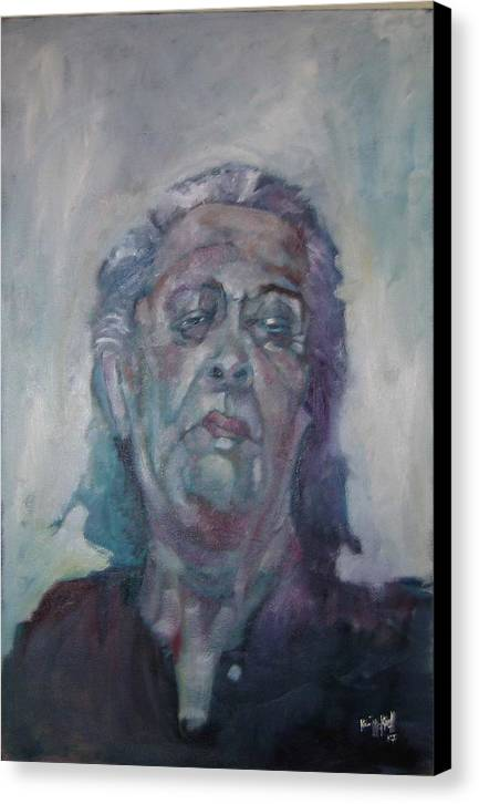 Portrait Figure Canvas Print featuring the painting Old Mary by Kevin McKrell